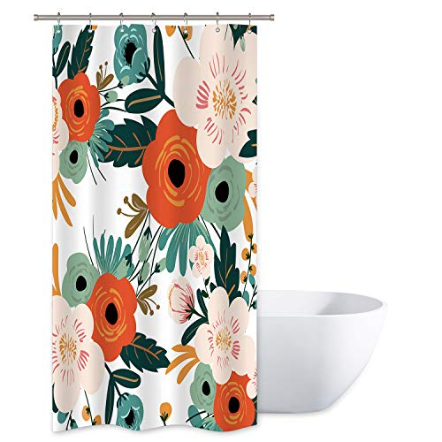 Riyidecor Spring Flower Shower Curtain Set Season Floral Green Bathroom Decor Fabric Panel Polyester Waterproof 72x78 Inch with 12 Pack Plastic Shower Hooks