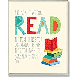 The Kids Room by Stupell The More That You Read The More Things You Will Know Rectangle Wall Plaque, 11 x 0.5 x 15, Proudly Made in USA
