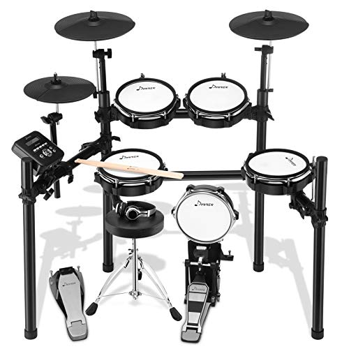 Donner DED-200 Electric Drum Set Electronic Kit with Mesh Head 8 Piece, Drum Throne, Sticks Headphone and Audio Cable Included, More Stable Iron Metal Support Set