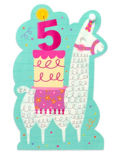 5th Birthday Card - American Greetings Llama 5th Birthday Card for Girl with Foil