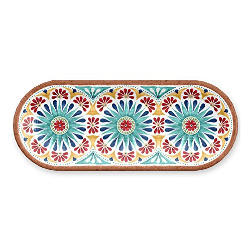 TarHong 1 Piece Rio Medallion Sandwich Tray Set, Multicolored