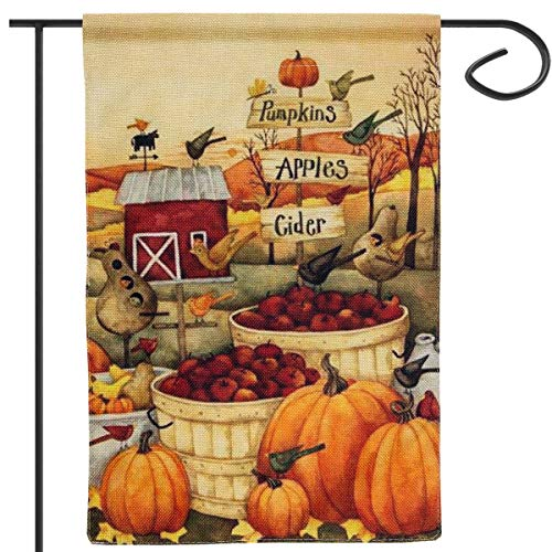 "Apipi Thanksgiving Pumpkin Fall Garden Flag 12""×18""- Double-Sided Decorative Fall Autumn Harvest Yard Flag for Thanksgiving Decorations"