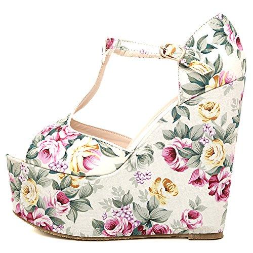2016 Spring New Womens Fashion Printing Chinoiserie Peep Toe Platform Wedges Sandal White