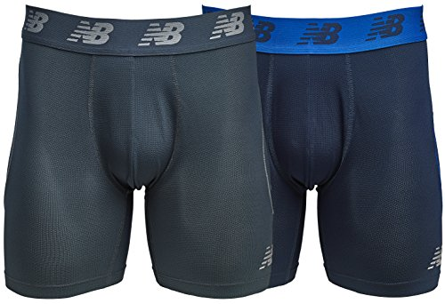 New Balance Mens Mesh Air Cool 6 Boxer Brief, No Fly, with Pouch (Pack of 2), Pigment/Thunder, X-Large (40-42)