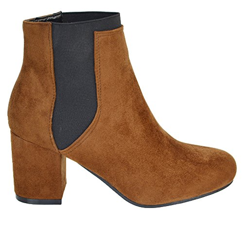 ESSEX GLAM New Womens Low Mid Block Heel Chelsea Ladies Elastic Pull On Fashion Biker Riding Ankle Boots Mocca Faux Suede