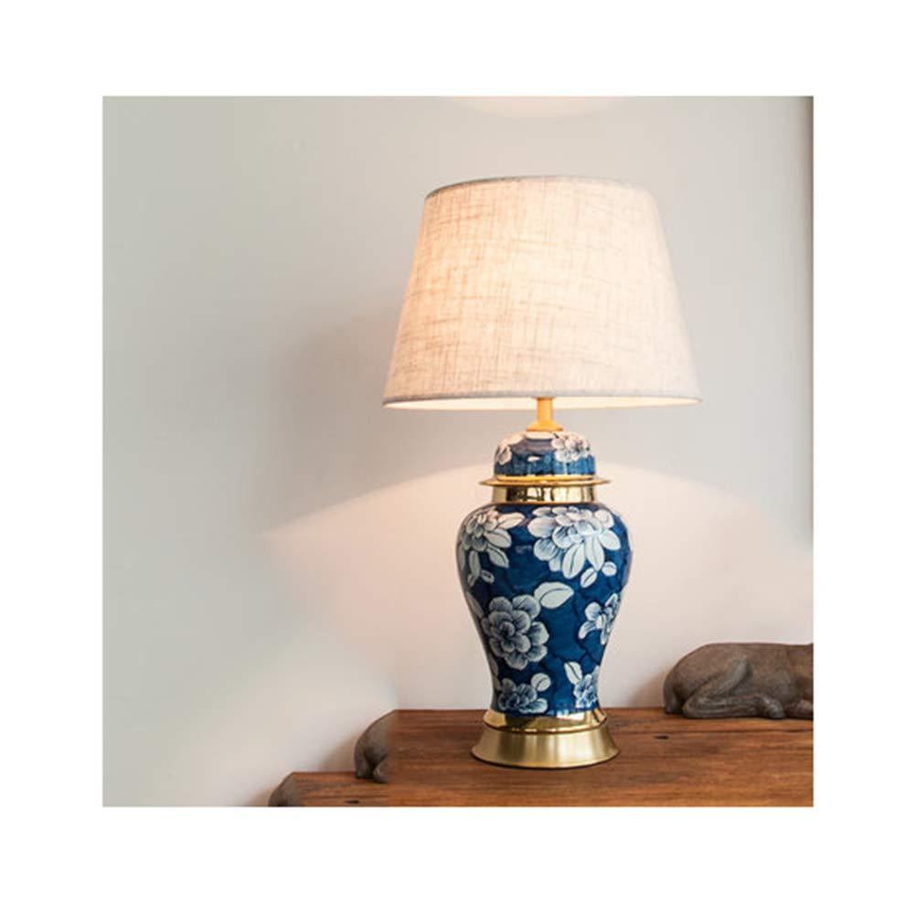 SGKJJ テーブルランプ新しい中国のセラミック寝室のベッドサイドランプのデスクランプのリビングルーム青と白の磁器レトロ読書 -4789 電気スタンド (色 : D, 設計 : ボタン) ボタン D B07QHKRZNG