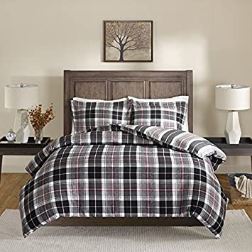 3 Piece Queen Buffalo Checkered Comforter Set, Contemporary Stylish Plaid  Pattern, Traditional Casual Look