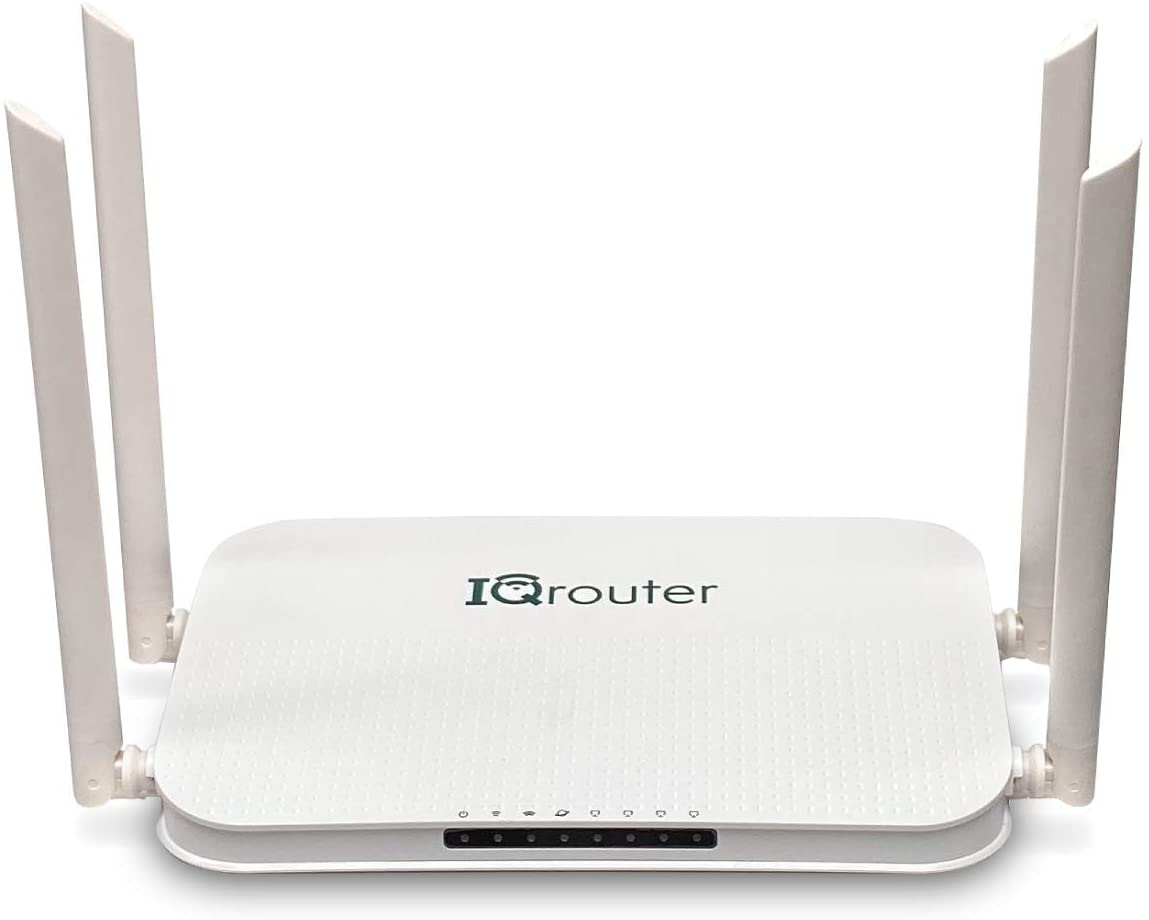 IQRV3 Self-Optimizing Router with Dual Band WiFi adapts to Your line for Improved Quality IQrouter