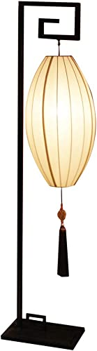 China Furniture Online Chinese Floor Lamp, Hanging Imperial Lantern with Beige Silk Shade and Tassel