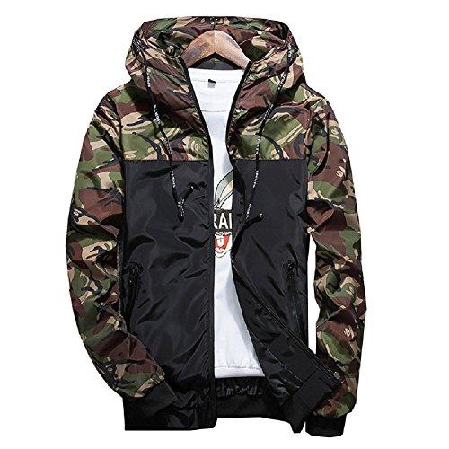 Men's Casual Jacket Lightweight Hooded Windbreaker Camouflage Running Athletic Track Jackets Coat - Coat Caddy
