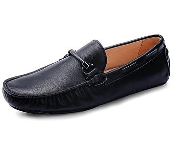 Zapatos de hombre Cuero genuino Conducción Mocasines casuales elegantes Slip On Brown negro Talla 38 a 44: Amazon.es: Deportes y aire libre