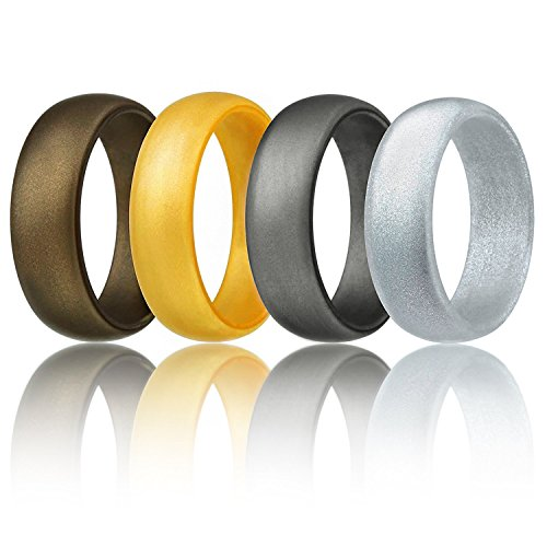 Silicone Wedding Ring For Men By ROQ Affordable Silicone Rubber Band, 4 Pack - Bronze, Silver, Beveled Metallic Platinum, Gold - Size 11