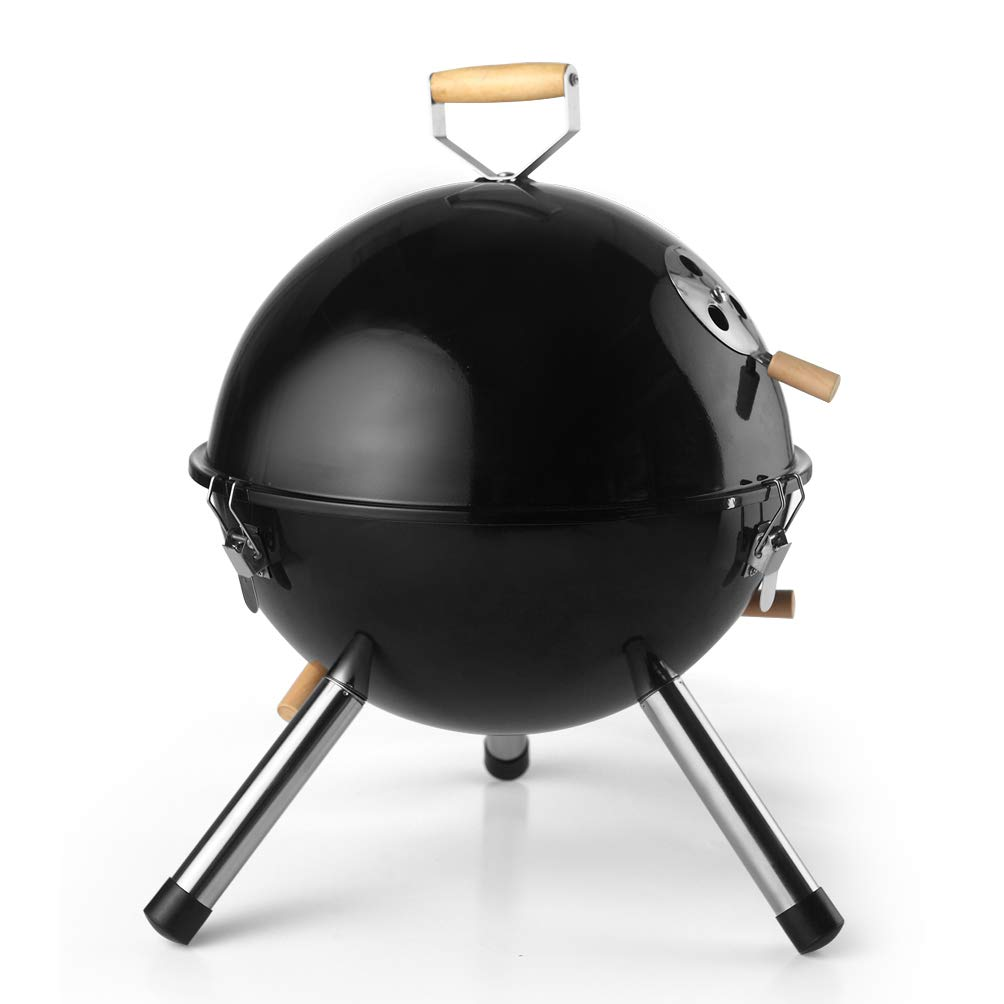 DE.KITCHEN&HIFUN Charcoal Grill, Black 12 Inch Portable Grills, Durable Lightweight BBQ Grill with Thermal Control System, Outdoor Indoor Grill for Camping Barbecue, Idea for Kids Women