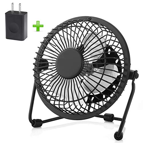 USB Fan, Ezire Mini Fan Desk Personal Metal USB Fan Aluminum Blade Metal Design, 3.9ft USB Cable, High Compatibility, Quiet Operation Suitable for Baby Kids 4 Inch Black