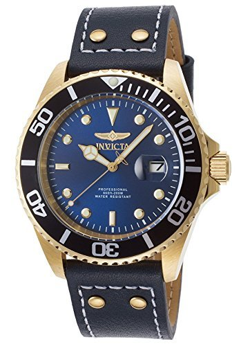 (Invicta Men's 'Pro Diver' Quartz Stainless Steel and Leather Watch, Color Blue (Model: 22076))