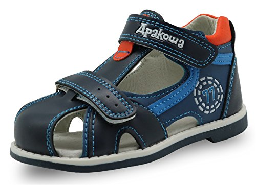 Apakowa Boy's Double Adjustable Strap Closed-Toe Sandals (Toddler) Blue]()