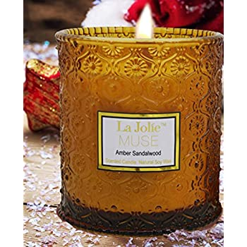 Wood Wick Scented Candles Amber Sandalwood 21Oz Soy Wax Candle Large Glass Jar, Gift for Her