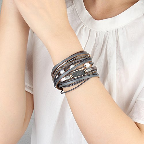 COOLLA Women Genuine Leather Vintage Volcanic Stone Wrap Bangle Bracelet Pearl Pendant Magnet Buckle (Grey) by COOLLA (Image #7)