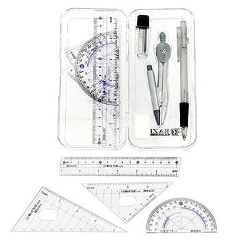 Amazon.com : Math Geometry Tool Set - 8 Pieces - Rulers ...
