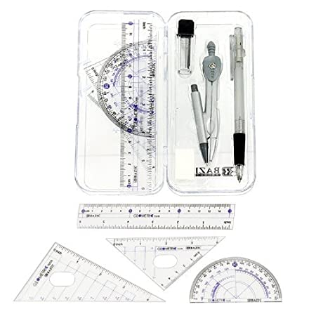 Amazon.com : Math Geometry Tool Set - 8 Pieces - Rulers ...
