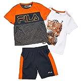 Fila Little Boys' 3 Piece Athletic Set, Shocking Orange/Charcoal Grey, 5