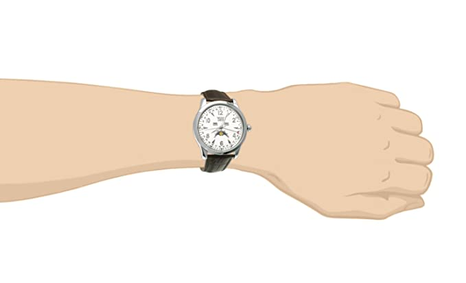 Amazon.com: Davis 1501 - Mens Moon Phase Watch Triple Date White Dial Brown leather Strap: Watches