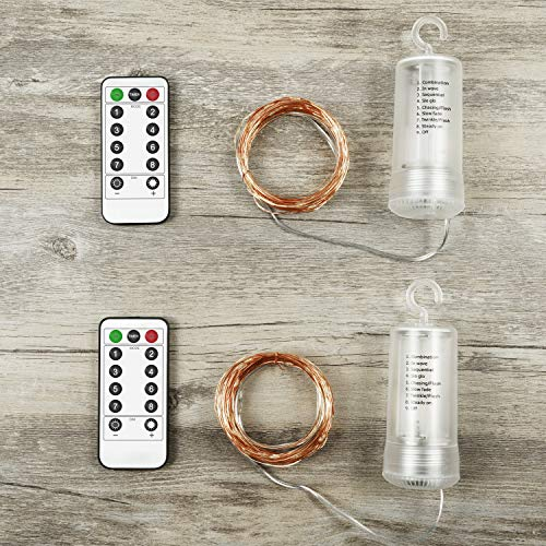 Asmader Fairy Lights 2 Pack Battery Operated String Lights, IP67 Waterproof 8 Modes Remote Timer with 50 LEDs 16.4ft Copper Wire Decor Light for Indoor/Outdoor,Patio,Garden,Party,Holiday(Warm White) by Asmader (Image #6)