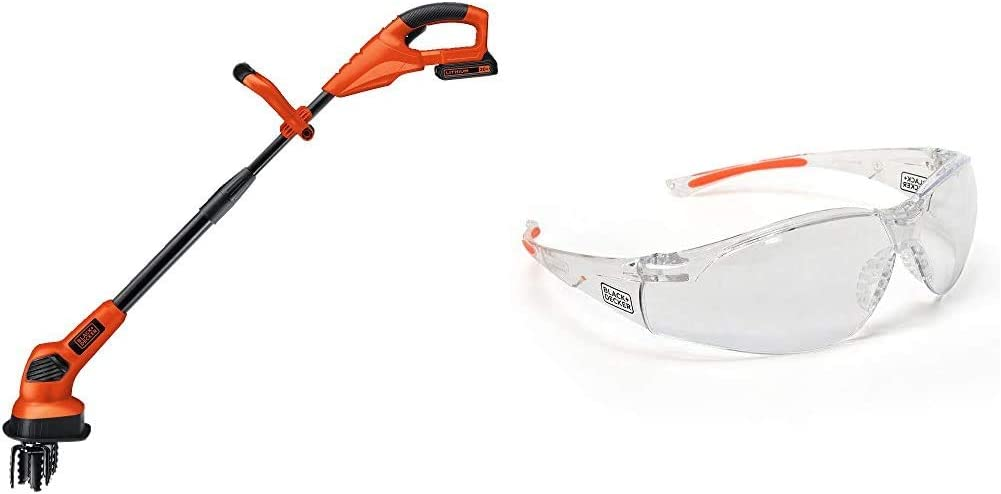 BLACK+DECKER 20V MAX Tiller with Safety Eyewear, Lightweight, Clear Lens (LGC120 & BD250-1C)