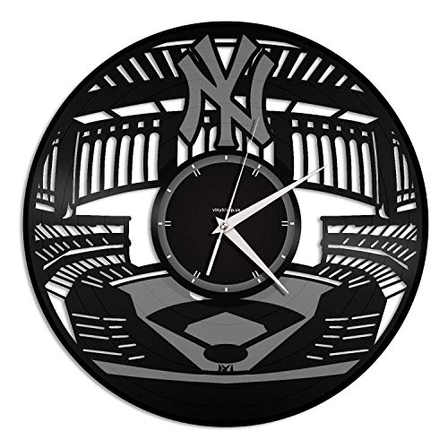 - VinylShopUS - Yankee Stadium Vinyl Wall Clock City Skyline Unique Gift Home and Office | Room Decoration