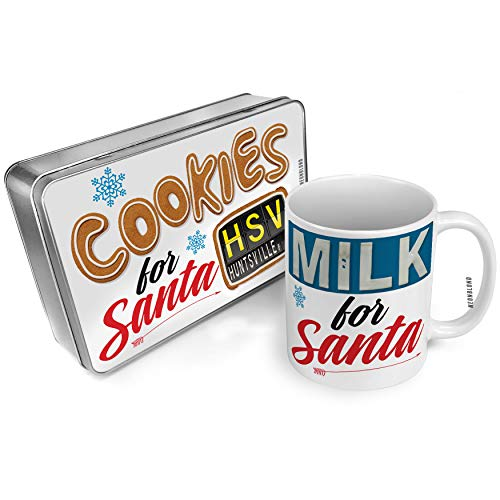 NEONBLOND Cookies and Milk for Santa Set HSV Airport Code for Huntsville, AL Christmas Mug Plate Box ()