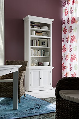 NovaSolo Halifax Pure White Mahogany Wood Single Hutch With 4 Shelves And Storage by NovaSolo