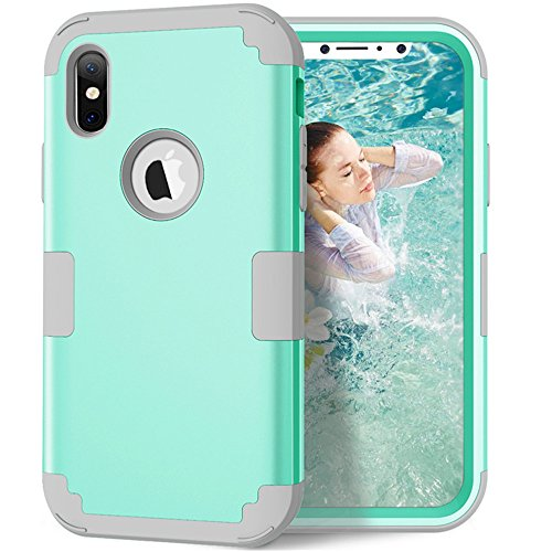 - iPhone X Case, VPR 3 in 1 Hybrid Cover Hard PC Soft Silicone Rubber Heavy Duty Shock Absorbing Protective Defender Case for Apple iPhone X 2017 Release (Mint+Grey)