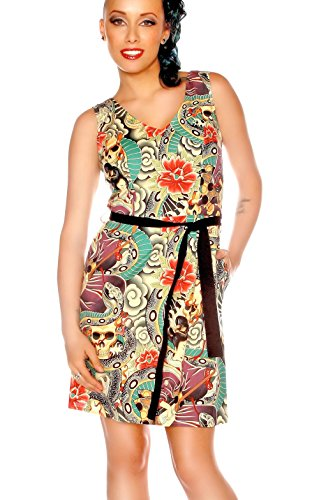 Folter Clothing Women's Colorful Tattoo Print Rockabilly Dress (Large) (Tattoo Print Dress)