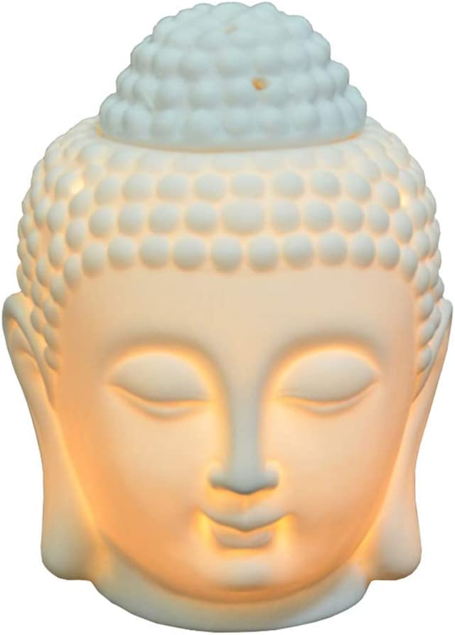 Tvoip 1PCS Ceramic Buddha Head Essential Oil Burner with Candle Spoon, Aromatherapy Wax Melt Burners Oil Diffuser Tealight Candle Holders Buddha Ornament for Yoga Spa Home Bedroom Decor Gift (White)