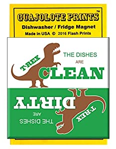 Clean Dirty Dishwasher Magnet Funny T-Rex Short Arms Dinosaur - Kitchen Gift