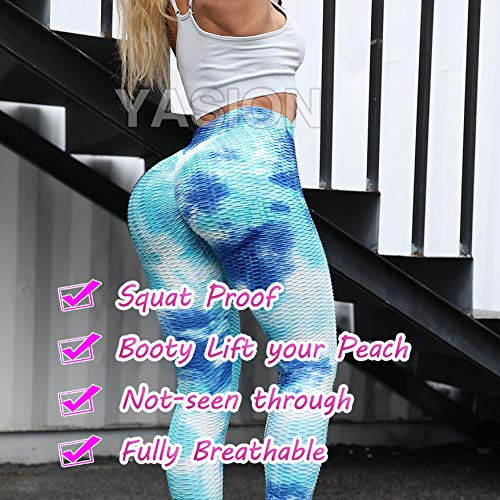 YASION Ruched Butt Yoga Pants High Waisted Booty Lifting Anti Cellulite Textured Scrunch Workout Leggings for Women