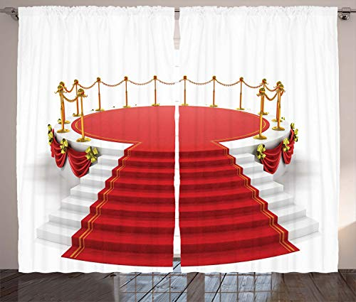 "Ambesonne Theatre Curtains, Simplistic Design Round Stage with Stairs Concert on Plain Background Print, Living Room Bedroom Window Drapes 2 Panel Set, 108"" X 84"", Red White"