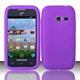 LF Purple Silicon Skin Case Cover, Lf Stylus Pen and Wiper For TracFone, StraightTalk, Net 10 Samsung Galaxy Discover S730G