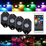 Willpower RGB LED Rock Lights with Bluetooth Controller,Timing Function,Music Mode Multicolor Neon LED Light Kit Under Body Glow Light Lamp Trail Fender Lighting JEEP Off Road Truck Car ATV SUV(4 Pods)