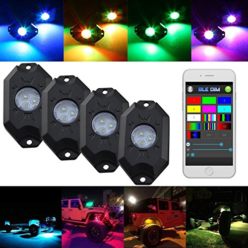 Willpower LED RGB Rock Light Kits With Cell Phone APP Bluetooth Control With 4 Pods Under Glow LED Neon Light kit for Jeep Off Road Trucks Car ATV SUV Boat for Timing & Music Mode (4 Pods)