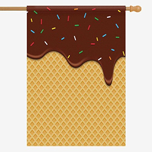 InterestPrint Funny Waffle Chocolate with Glaze Yummy Dessert House Flag House Banner, Decorative Yard Flag for Wishing Party Home Outdoor Decor, 28