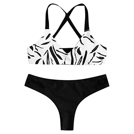 bdf1ea5f4a41d Amazon.com: Women's Swimsuit Bikini Set Halter Zebra Print Crossover Back  Bandage Padded Two Piece Beachwear: Clothing