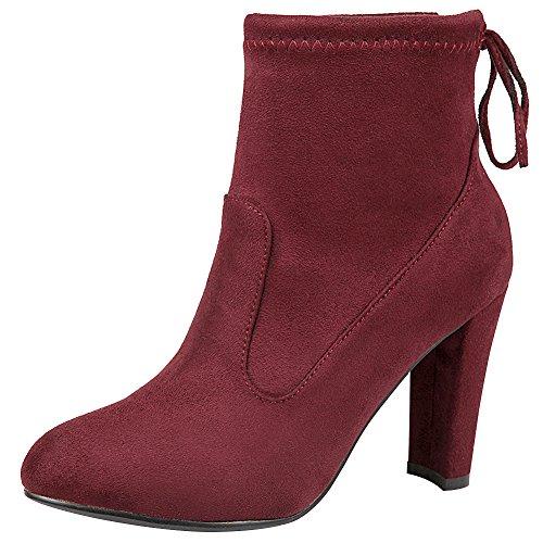 Jamron Women's Soft Flannelette Elegant High Block Heel Ankle Boots Adjustable Shaft Width With Drawstring Burgundy