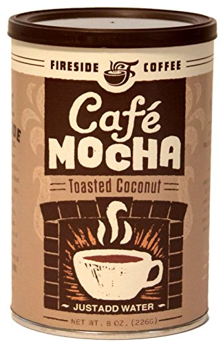 Fireside Coffee Cafe Mocha Instant Flavored Coffee 8 Ounce Canister - Toasted Coconut