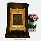 VROSELV Cotton Microfiber Bathroom Bath Towel-picture gold frame with a decorative pattern Custom pattern of household products(11.8''x35.4'')