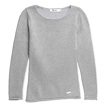 Mywords Grey Round Neck Pullover Top For Girls