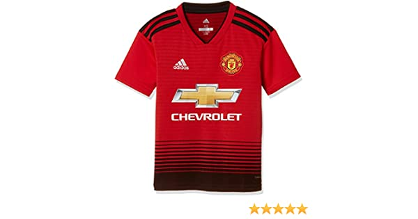9a1aac7e7 Amazon.com : adidas 2018-2019 Man Utd Home Football Shirt (Kids) : Sports &  Outdoors
