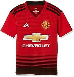 adidas MUFC H JSY Y Camiseta, Niños, Rojo (rojrea/Negro), 152