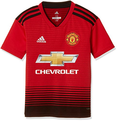 adidas Manchester United FC Official 2018/19 Short Sleeve Home Jersey - Youth - Real Red/Black - Age 11-12