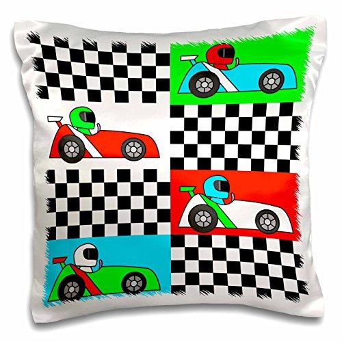 3dRose Boy Stuff Blue Red Green Racecars Checkered Flag Design-Pillow Case, 16 by 16